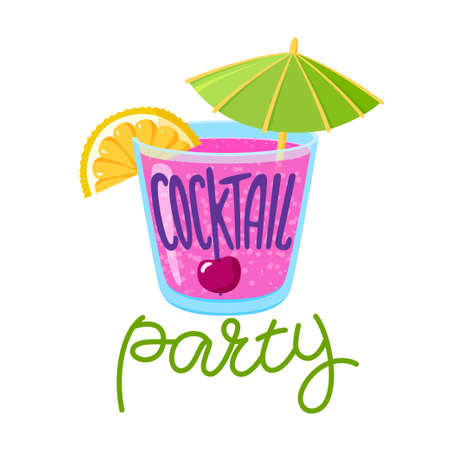Cocktail party lettering, mixed drink in old-fashioned glass with lemon, cherry and umbrella, summer party promotion