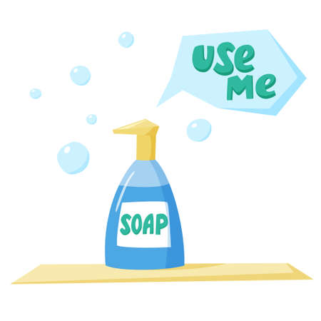 Soap in dispenser bottle with soap bubbles arounds, use me sign, wash hands with soap, flat style