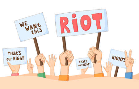 People on demonstration demand justice. Hands with banners, placards and posters. Human right activists with manifestation signs. Concept of protest, pickets, revolution, strike, riot.
