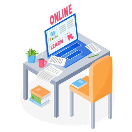 Learning online concept. Laptop, papers, books on table with chair. Studying online via the internet, learning from home, online education courses, vector illustration