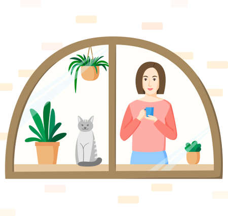 Woman with mug standing in front of window. Girl, cat and house plants in window. Stay at home concept in flat style. 矢量图像