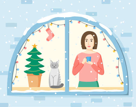 Christmas illustration. Woman standing in front of window and watching snowing. Girl, cat and Christmas tree in window decorated with lamp garland and socks. Winter holidays concept. Flat style vector 免版税图像 - 158774098