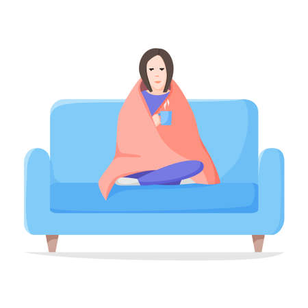 Sad alone woman sitting wrapped blanket on sofa. Depressed and tired girl with hot drink. Self isolation concept. Flat style vector. 矢量图像