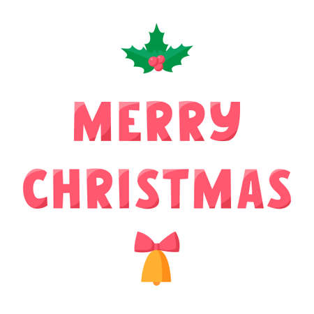 Merry Christmas lettering with bell and holly. Greeting text for winter holidays. Phrase for banners, cards, posters with decoration. Vector sign 矢量图像