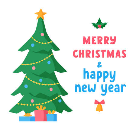Merry Christmas and Happy New Year lettering with decorated Christmas tree and gifts. Greeting text for winter holidays. Phrase for banners, cards, posters, stickers with decoration. Vector 矢量图像
