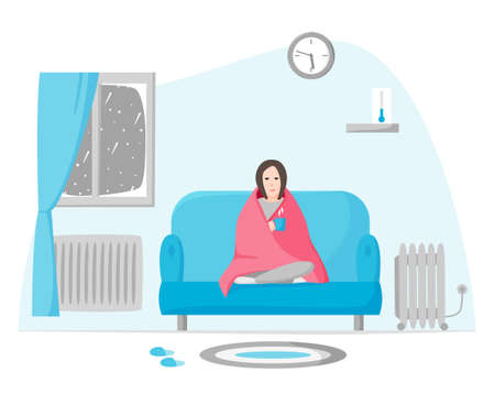 Freezing woman in cold apartment in winter. Girl wrapped in blanket sits on sofa. Using radiator and heater when cold inside. Self isolation on cold depressing weather. Flat style vector.