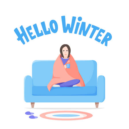 Hello winter lettering. Unhappy woman sitting wrapped blanket on sofa. Depressed girl with hot drink. Self isolation on cold weather. Flat style vector.