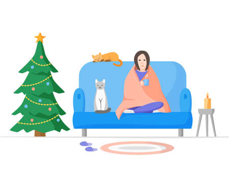 Christmas alone, celebrating at home with cats. Winter holidays on self isolation. Woman wrapped blanket on sofa with cup. Flat vector illustration 免版税图像 - 160012422