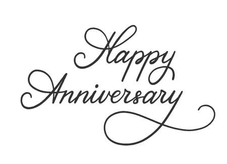 Happy Anniversary lettering for greeting card. Hand-drawn phrase for congratulation and celebrating. Template for banner, poster, prints, label, badge, sticker. Hand written sign typography. Vector.