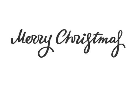 Merry Christmas lettering. Greeting text for winter holidays. Phrase for banners, cards, posters with decoration. Vector sign