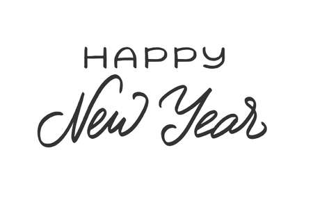 Happy New Year lettering. Greeting text for winter holidays. Phrase for banners, cards, posters with decoration. Vector sign