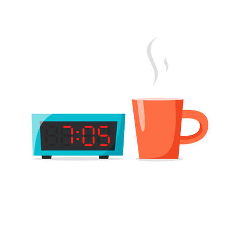 Cup and alarm clock, early morning concept, morning coffee or tea, flat vector illustration