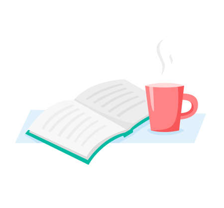 Cup and book, read and drink coffee or tea, flat vector illustration 免版税图像 - 162640566