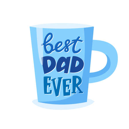 Best dad ever lettering on cup, Fathers Day gift, present concept for father, vector illustration 免版税图像 - 162928960