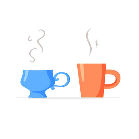 Simple mug and fancy cup with hot drinks, two different cups with coffee or tea, couple concept, vector flat illustration 矢量图像