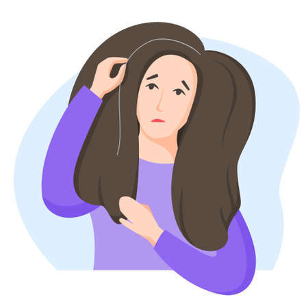 Woman found grey hair, worry about getting old and turning grey, dissatisfaction with oneself, appearance-related social pressure and ageism issue, vector illustration in flat style.