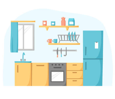 Kitchen in flat design, cook room concept, kitchen unit with refrigerator, oven and stove, vector illustration
