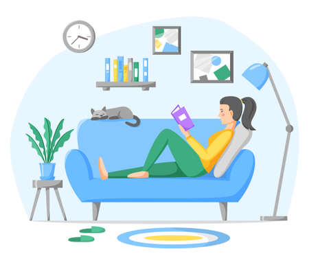 Woman reading paper book on sofa at home. Living room interior with couch, home plant and pet. Rest and leisure time at home. Flat style vector illustration.