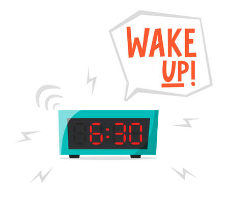 Ringing alarm clock, electronic clock, early morning concept, waking up early, flat vector illustration