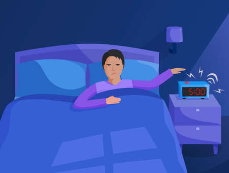 Person in bed waking up early, bedroom interior at early morning, alarm clock ringing, flat illustration, vector 矢量图像