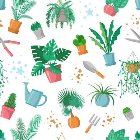 Seamless pattern with plants and garden tools, home plant repeated ornament, decoration for plant and gardening lover. Flowerpots, scissors, fork, trowel, watering pot, palm, cactus, fern. Flat vector 矢量图像