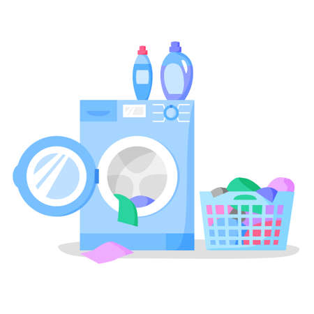 Open washing machine and laundry basket with clothes, bottles with liquid detergents, vector illustration