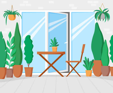 Garden on terrace with table and chair, green balcony with plants, gallery with big window for leisure time. Flat design illustration 矢量图像