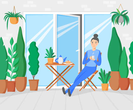 Woman having breakfast on terrace with garden. Plants and trees on balcony. Woman staying at home and relaxing on porch drinking coffee. Vector illustration 矢量图像