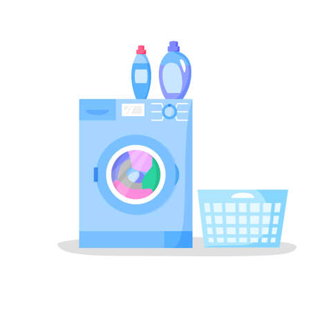 Working washing machine and empty laundry basket, bottles with liquid detergents, flat style vector illustration 矢量图像