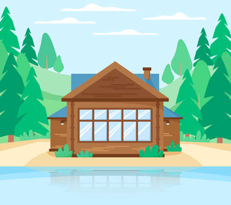 Wooden cottage in forest near lake. country house beautiful landscape with rustic landscape, lake, house and pine trees 矢量图像