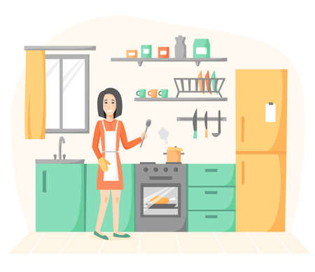 Smiling woman cooking in kitchen. Girl preparing homemade meals, soup and chicken. Housewife kitchen interior in flat style. Vector illustration
