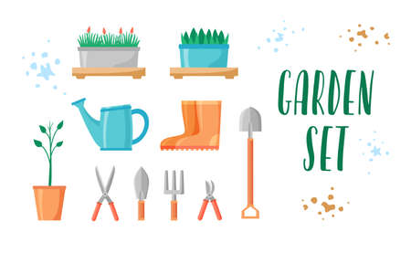 Garden tools and plants set. Gardening equipment and items collection for farm or yard. Rubber boots, scissors, shovel, fork, pruners. Flat vector illustration.