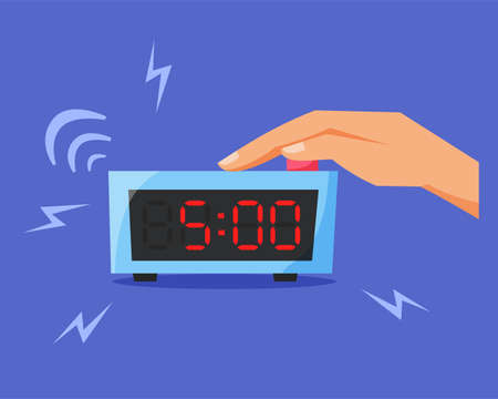 Turn off ringing alarm clock, pressing button on electronic clock, early morning concept, waking up early, flat vector illustration Vektorgrafik