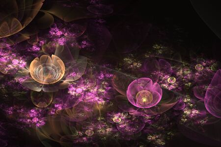 Abstract fractal water lilies in the night pond on black