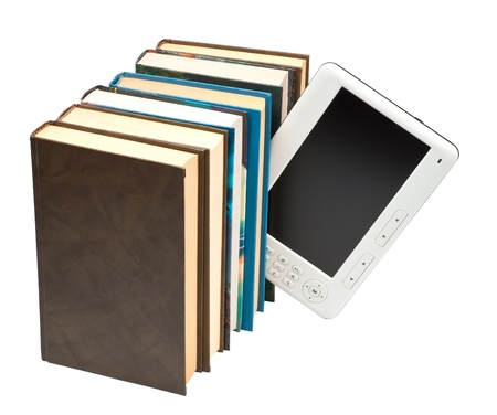 ebook and the paper book it is isolated on a white background