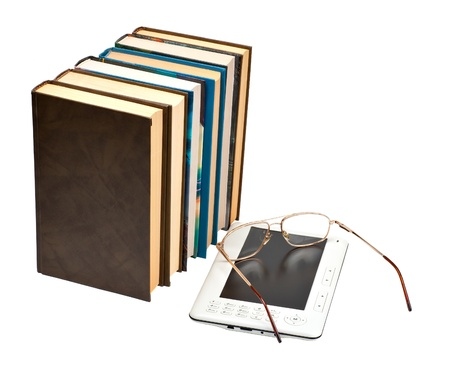 E-book with glasses and paper books a white backgrounds Stock Photo