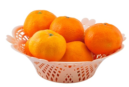 Vase with tangerines it is isolated on a white background