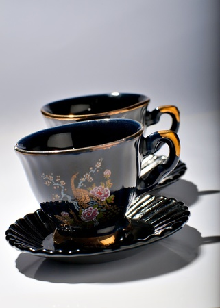 Two tea cups standing on a table Stock Photo