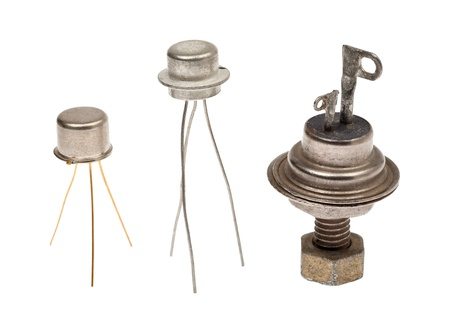 Metal semi-conductor thyristors on a white background