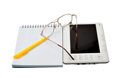 The electronic book, glasses, handle and notebook a white backgroundoks Stock Photo