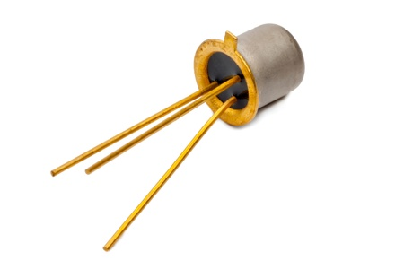 The silicon transistor on a white background Stock Photo