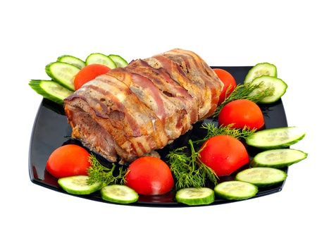 Roll from meat on a white background