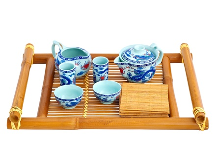 Set for tea ceremony on a white background
