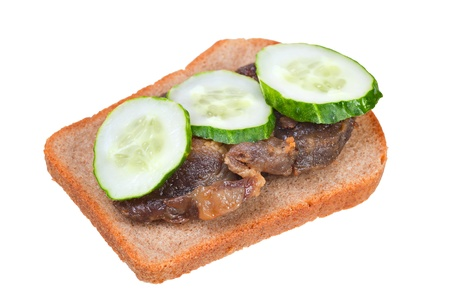 sandwich with fried meat and cucumbers on a white background Stock Photo