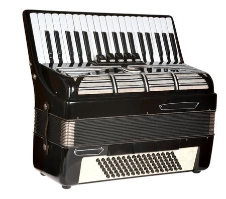 black accordion on a white background