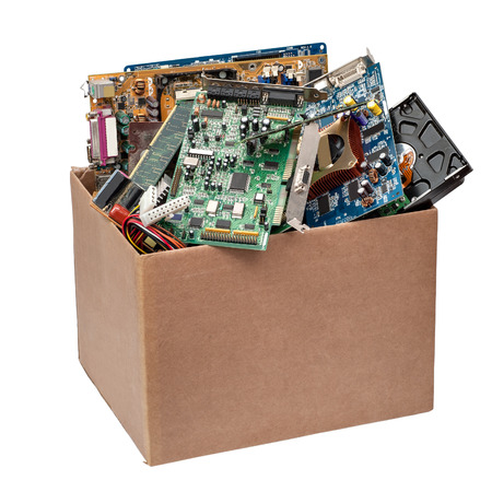 cardboard box with computer details on a white background