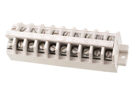 terminal block for cable distributing on a white background Stock Photo