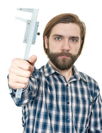 the bearded man with a caliper in a hand on a white background Stock Photo