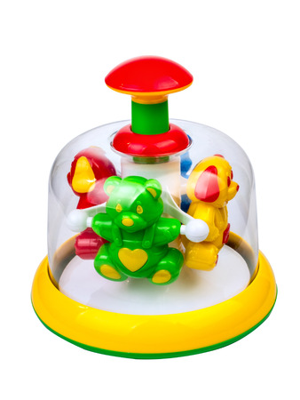 Childrens toy pinwheel isolated on white background Stock Photo