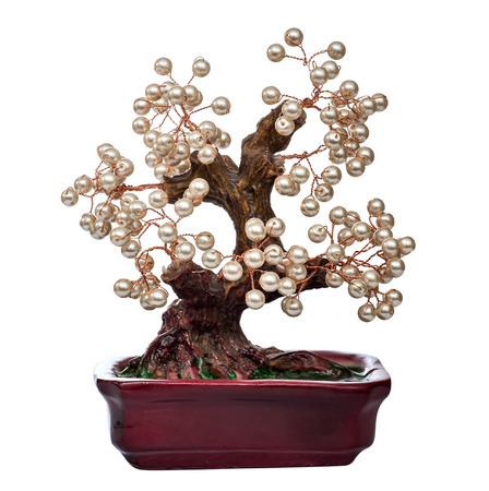 pearl handmade bonsai tree  isolated on white background Stock Photo
